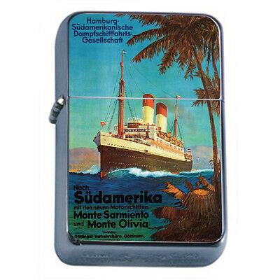 Vintage Cruise Ship D4 Windproof Dual Flame Torch Lighter Refillable