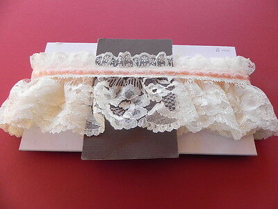 Card of New Gathered Lace - Cream with Pink Ribbon