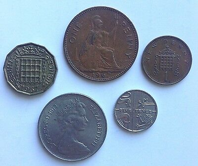 Great Britain GB UK - 1, 5, 10 Penny Rare Old Collectable Coins - Collection Lot