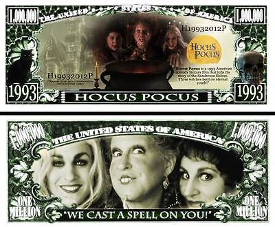 Hocus Pocus Million Dollar Bill Fake Play Funny Money Novelty Note + FREE SLEEVE