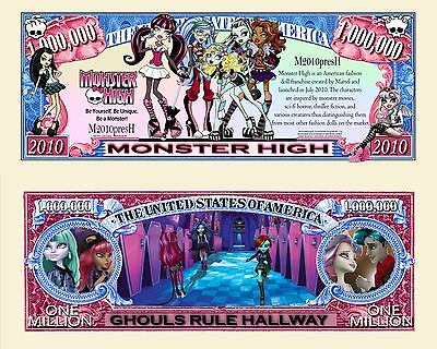 Monster High Million Dollar Bill Fake Play Funny Money Novelty Note +FREE SLEEVE