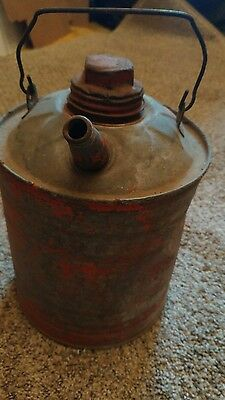 vintage steel red one gallon metal gas can