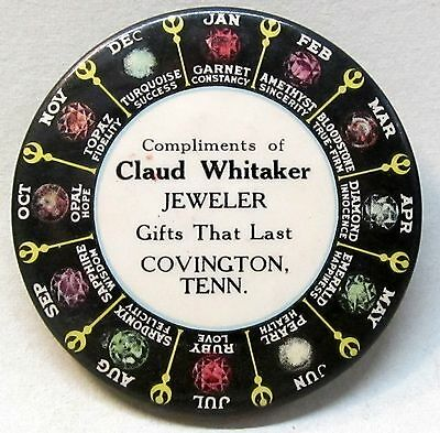 c.1915 CLAUD WHITAKER JEWELER Covington TENNESSEE celluloid ad pocket mirror *