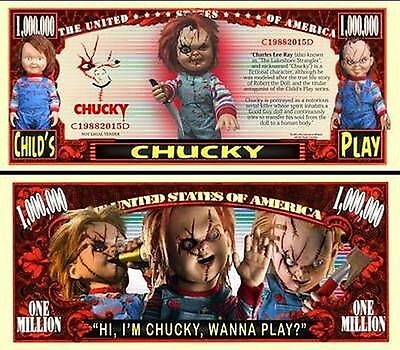 Chucky of Child's Play Million Dollar Bill Collectible Fake Play Novelty Note