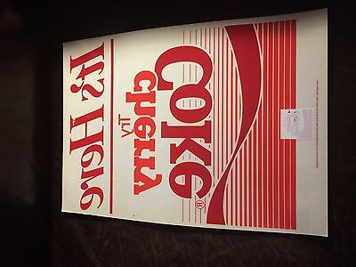 "Vintage ""Try Cherry Coke"" Window Cling Coca-Cola 17""x12"" Advertisement Ad"