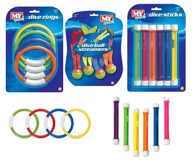 M.y Underwater Swim Pool Dive Weighted Play Sticks Rings Streamers Water Toys