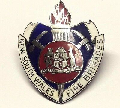 Genuine New South Wales Fire Brigades Badge / Pin Marked Amor Sydney