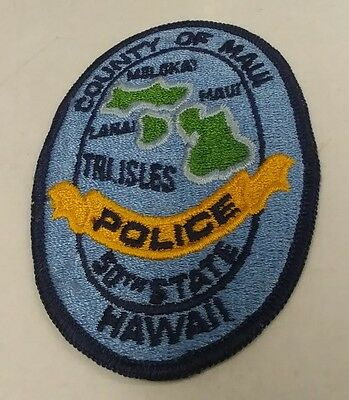 """RARE County of Maui HI Police Dept. Hawaii  """"The Tri Isles"""" Police Patch"""
