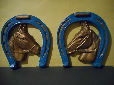 Vintage Pair of Horse Head & Horse Shoe Wall Plaques