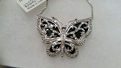 "1/3ct Natural Diamond Butterfly Pendant Necklace 18"" in .925 Sterling Silver"