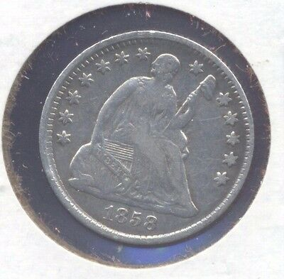 1858 Seated Liberty silver half-dime. Fine, cleaned and some scuffs. (Lot#02)