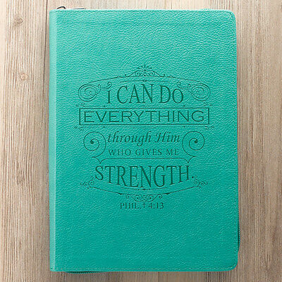 Phil 4:13 I Can Do All Things Zippered Turquoise LuxLeather Journal. FREE DELIVE