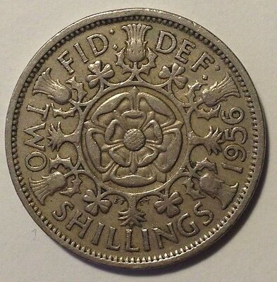 1956 2 Two Shillings Coin - Great Britain GB UK - Collectable & Rare Coin!