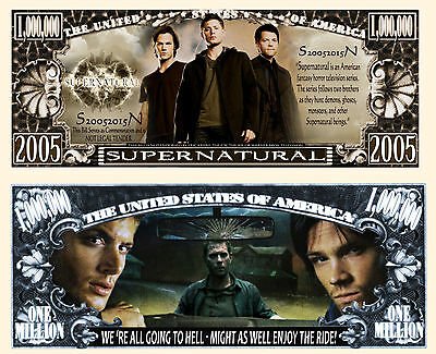 SuperNatural Million Dollar Bill Collectible Fake Play Funny Money Novelty Note