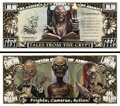 Tales From the Crypt Million Dollar Bill Collectible Funny Money Novelty Note