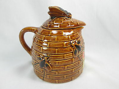 Vintage Tropic Bee Honey BEE HIVE Honey Pot Ceramic Jar Container