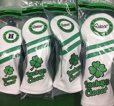 Lucky Clover Premium PU Leather Head Cover Set x 4 Covers lncludes Free Delivery