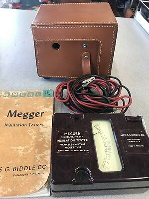 Antique  Megger Insulation Tester in Bakelite With Manual