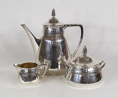 Arts and Crafts Swedish Silver 3 pcs Tea/Coffee Set Early 20th Century GAB