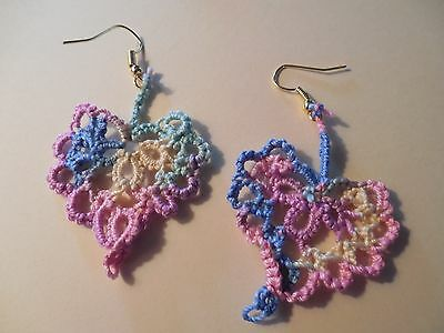 """Tatted Heart Earrings Dove Country Tatting Pastel Small 1 1/2"""" Victorian"""