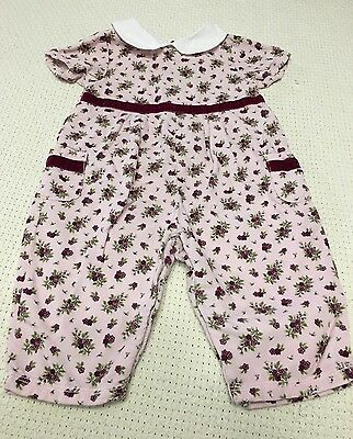 Gymboree Girls Pink Floral One Piece Romper Outfit Size 3-6 Months