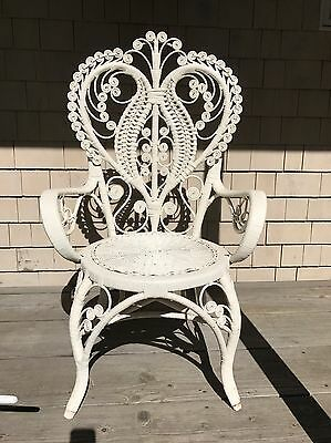 White Rattan Scroll Heart Back Arm Chair Vintage -  Shabby Chic - Cottage