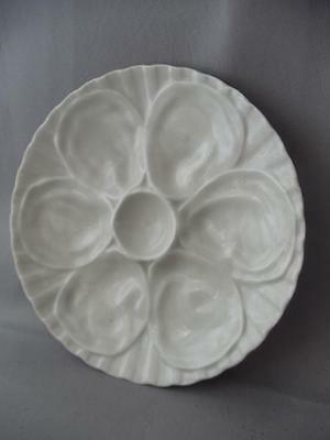 ANTIQUE VTG PILLIVUYT Co FRANCE WHITE FINE PORCELAIN OYSTER PLATE TRAY