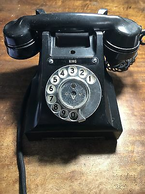 Vintage Bakelite Rotary Dial Telephone With Mouth Cup