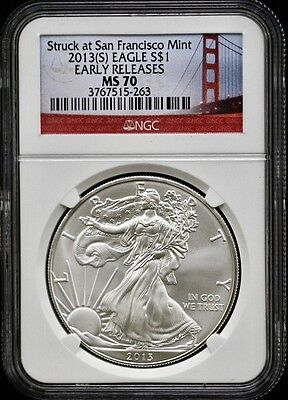 2013(S) Silver American Eagle Struck At San Francisco Mint NGCMS70 Early Release