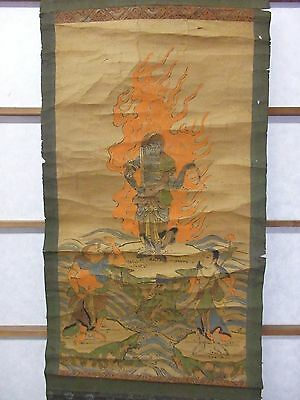*Antique Japanese Scroll Painting Furumine Shrine Shinto/Buddhist Temple Japan*