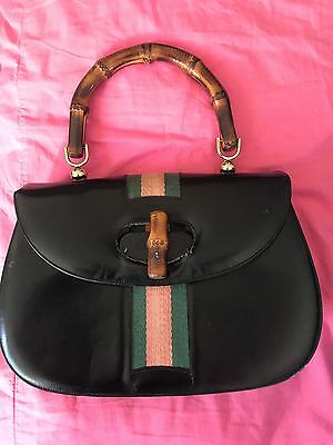 Vintage Bamboo Black Leather Purse With Red And Green Ribbon Accent