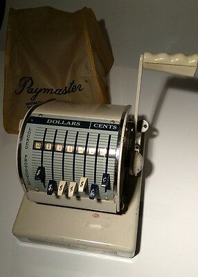 Paymaster canadian Series x-900 Check Writer Machine Vintage Works Key and Cover