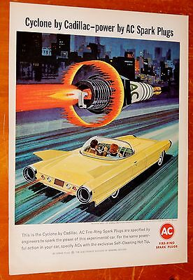 Awesome Cadillac Cyclone Concept For 1964 Champion Spark Plugs Ad - Vintage 60S