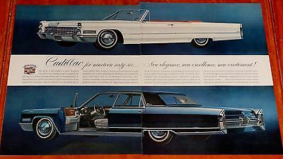 Large 1966 Cadillac Deville Convertible & Fleetwood Beautiful Ad - Vintage 60S