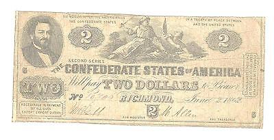 $2.00 The Confederate States of America Richmond June 2, 1862 Type 42