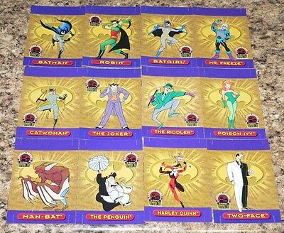 Batman and Robin Action Packs. Complete 36 card set with the 4 gum pieces.