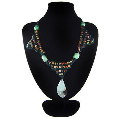 Multi-Color Amazonite Hand-crocheted Necklace CL700117