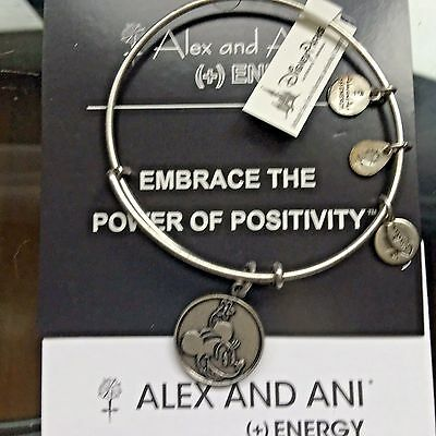 Disney Parks  Alex and Ani Minnie Mouse Silver Retired bangle bracelet New /Tag