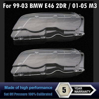 For 99-03 BMW E46 2DR / 01-06 M3 Replacement Headlight Lenses-Left&Right Set KV