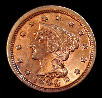 1848 Large Cent Liberty Braided Hair Head Coin