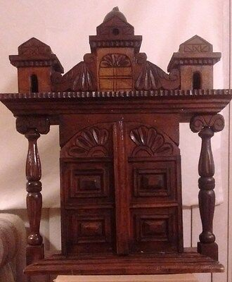 Large ANTIQUE Ornate Wooden Hand Carved Altar Church Home Alter Pray Confession
