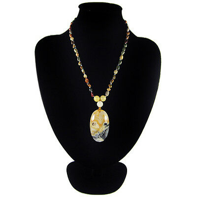 Crazy Lace Agate Hand-crocheted Necklace CK701147