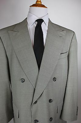 Burberry Double Breasted Suit 46R (40x30) Gray Glen Plaid Wool