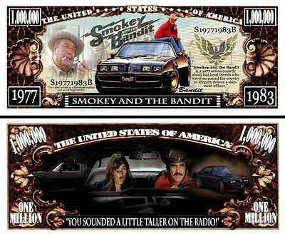 Smokey and the Bandit Million Dollar Bill Collectible Funny Money Novelty Note