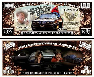 Smokey and the Bandit Million Dollar Bill Funny Money Novelty Note + FREE SLEEVE