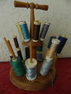 VINTAGE LARGE WOODEN COTTON WHEEL HOLDER with COTTONS