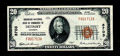 1929 $20 Detroit Michigan National Brown Currency