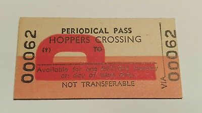 Victorian Railways Train Ticket Periodical Pass Hoppers Crossing