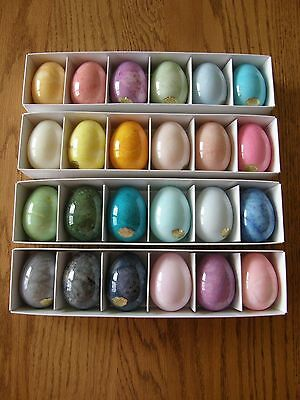 Set 24:Williams Sonoma Alabaster Easter/Spring Eggs-Mixed Colors-Centerpiece-New