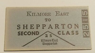 VICTORIAN RAILWAYS TRAIN TICKET KILMORE EAST TO SHEPPARTON 2nd CLASS